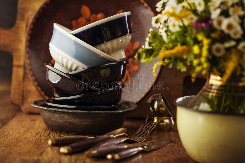 Vintage tableware stock photo