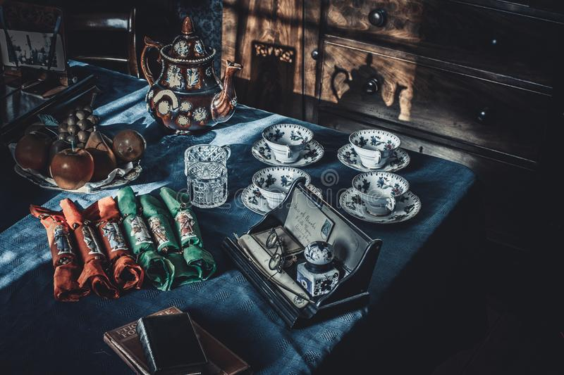 Vintage tableware on the table royalty free stock photos