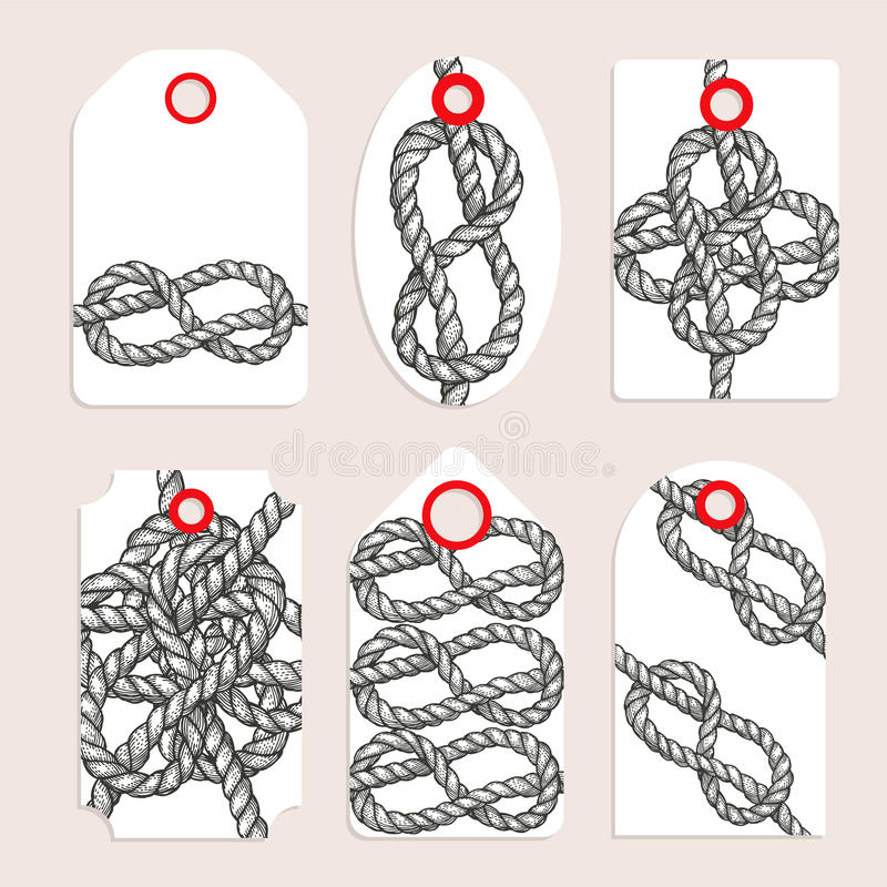 Vintage tags with eternity eight knot royalty free illustration