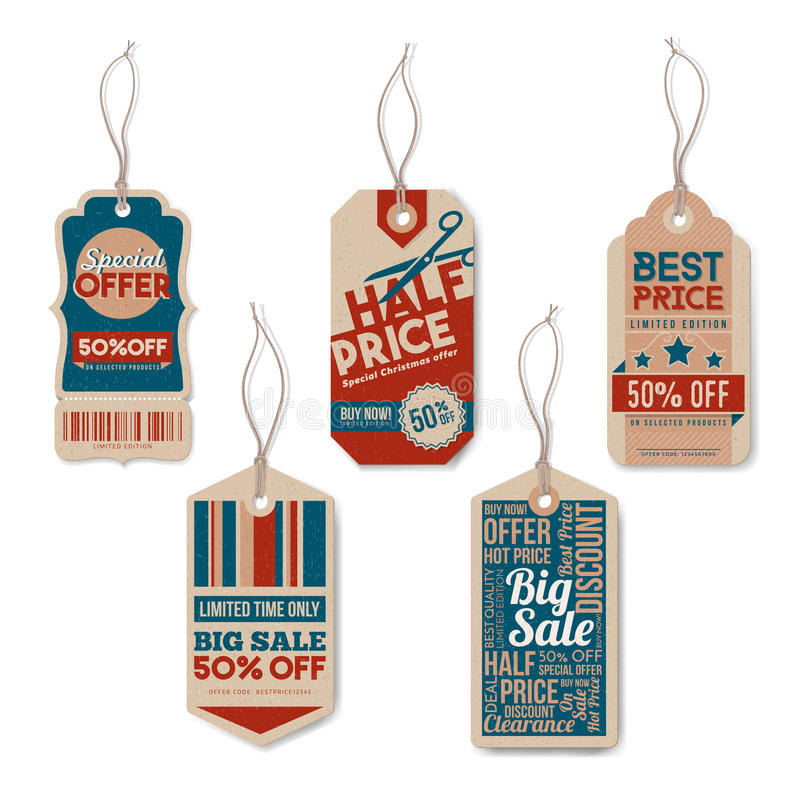 Vintage tags with string. Vintage tags set with string, textured realistic paper, retail, sale and discount concept vector illustration