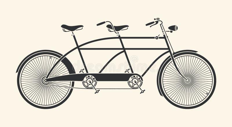 Vintage tandem bicycle. Vintage Illustration of tandem bicycle over white background