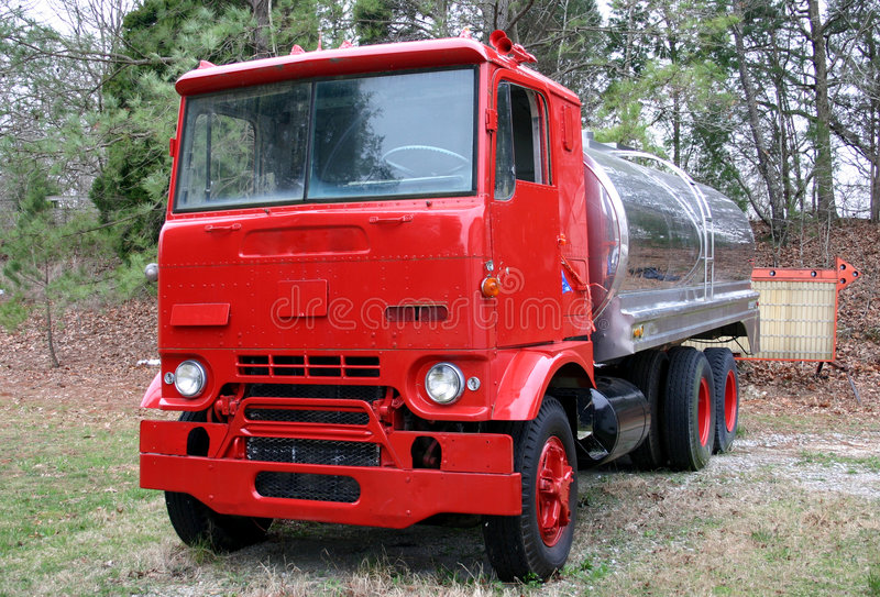 Vintage Tanker truck. In USA used now for water with fire department stock images