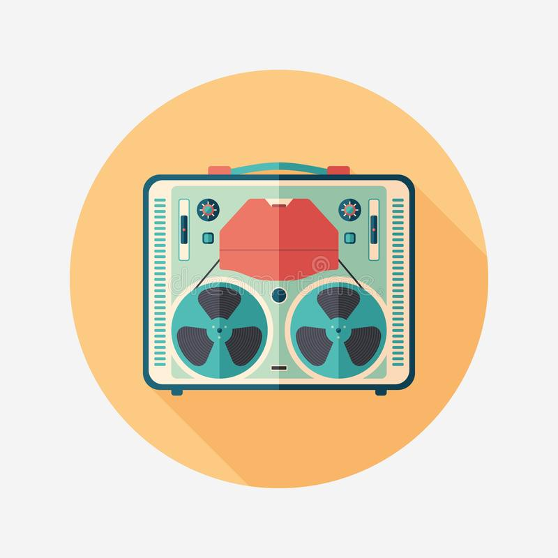 Vintage tape recorder flat round icon with long shadows. stock illustration