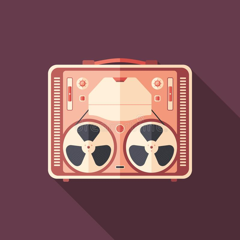 Vintage tape recorder flat square icon with long shadows. stock illustration