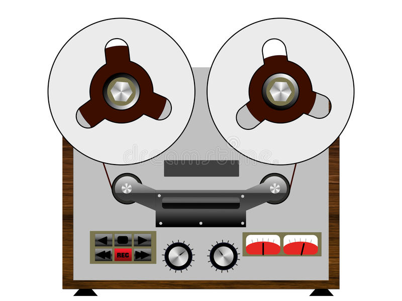 Vintage tape recorder isolated on the white background royalty free illustration