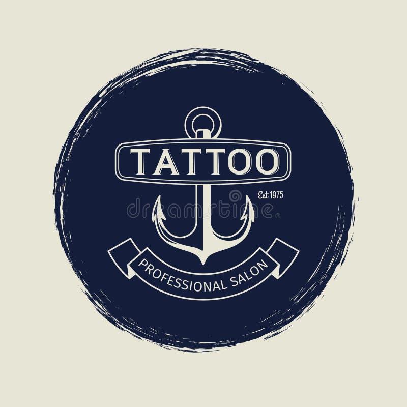 Vintage Tattoo Salon Round Logo Stock Vector