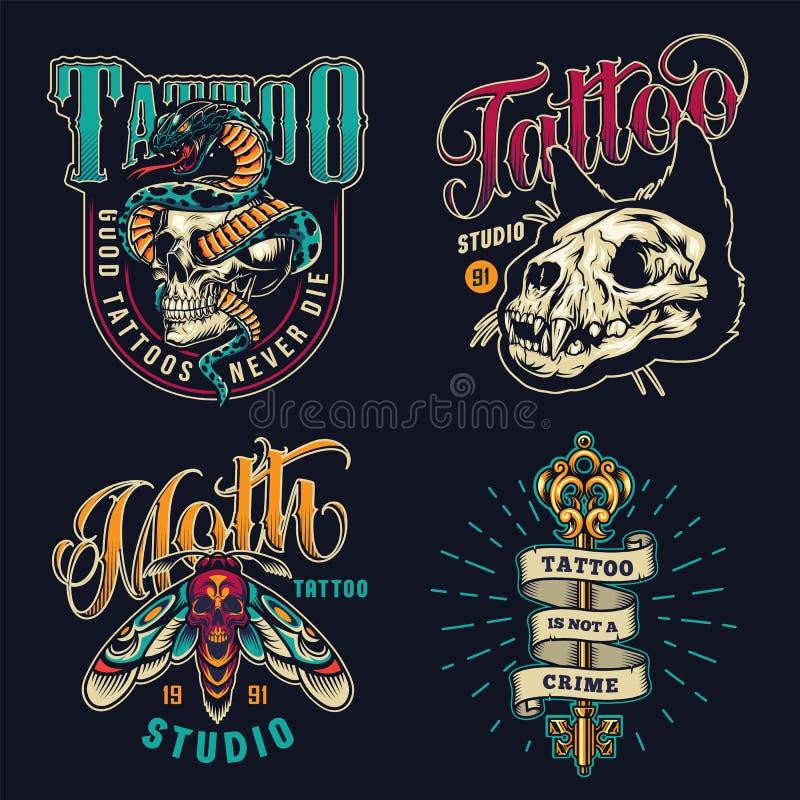 Vintage tattoo studio colorful emblems stock illustration