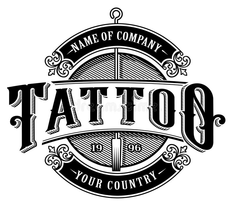 Download Vintage Tattoo Studio Emblem 4 For White Background Stock Illustration