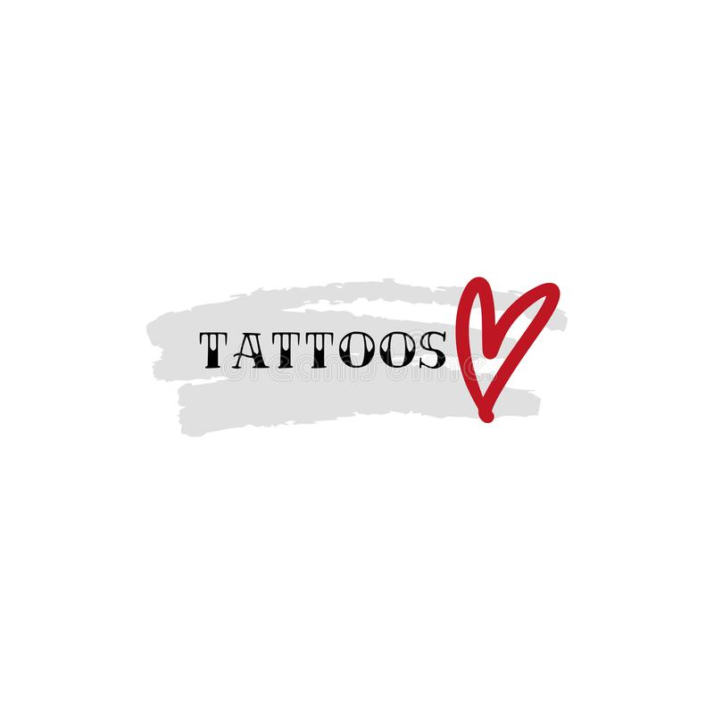 Vintage tattoo studio logo, emblem. Tattoo lettering style font, logo template. Graphic elements stock illustration