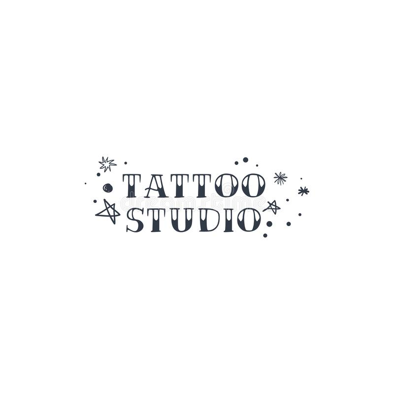 Vintage tattoo studio logo, emblem. Tattoo lettering style font, logo template. Graphic elements royalty free illustration