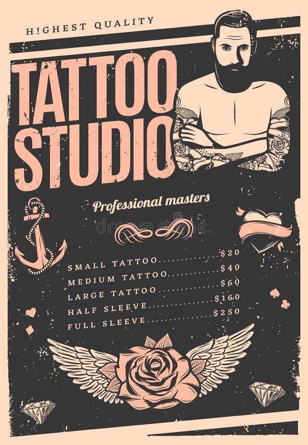 Vintage tattoo studio poster stock vector illustration for Vintage tattoo art parlor