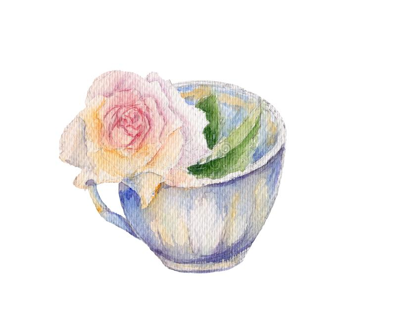 Vintage tea cup with pink rose flower. Retro watercolor illustration isolated on white background. Shabby chic style. vector illustration