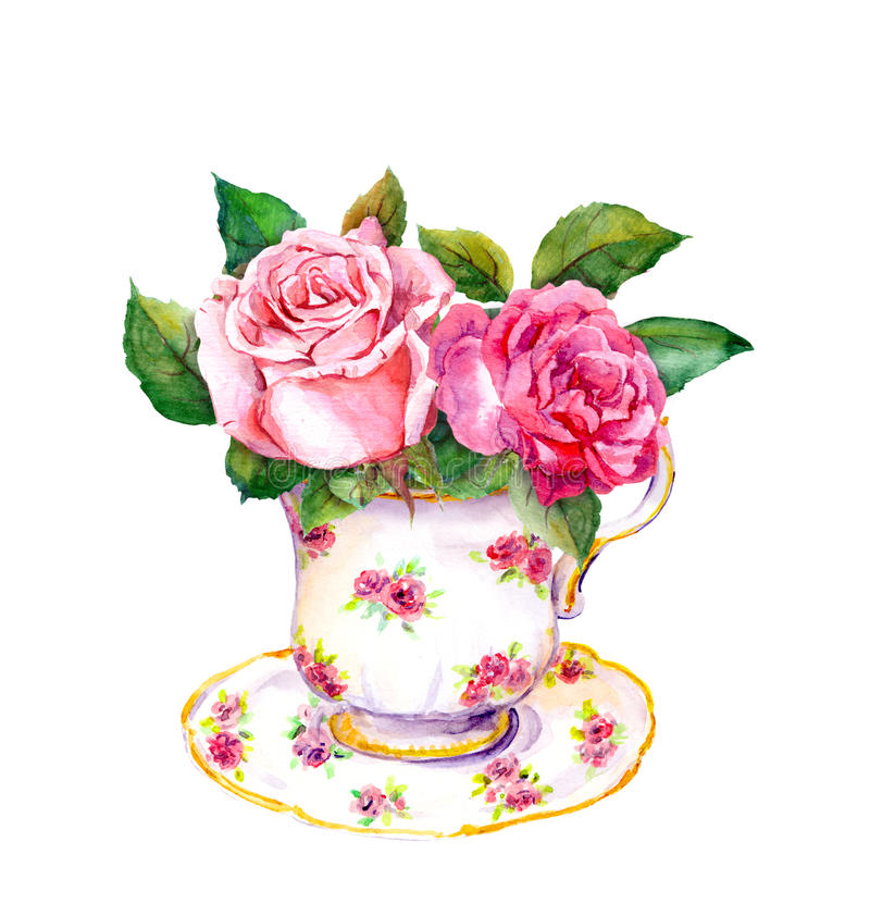 Vintage tea cup with rose flowers. Watercolor. Vintage tea cup with rose flowers. Retro watercolor stock illustration