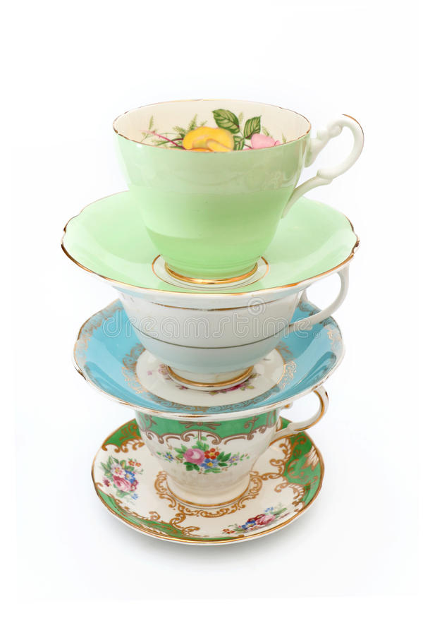 Vintage Tea Cups. Isolated on a white background royalty free stock photo