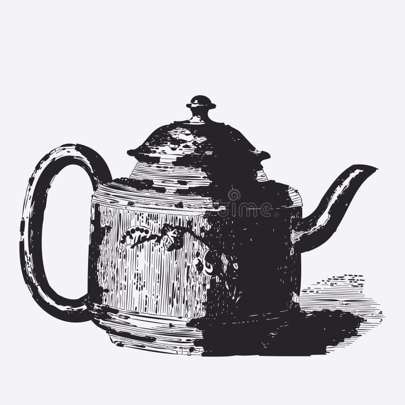 Vintage tea pot engraving. Ephemeral vector illustration royalty free illustration