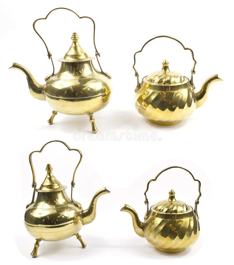 Vintage Tea Pot Kettle on White Background stock photos