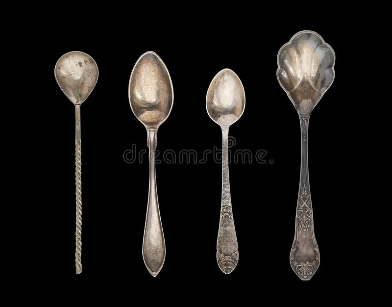 Vintage Tea Spoons isolated on a white background. Rustic style. Silverware stock photography