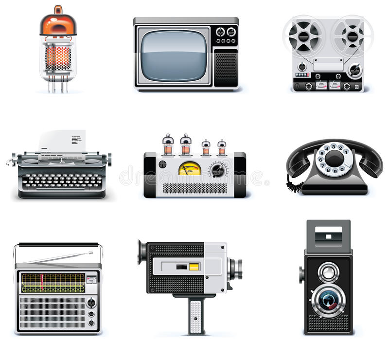 Vintage Technologies Icon Set Royalty Free Stock Photo