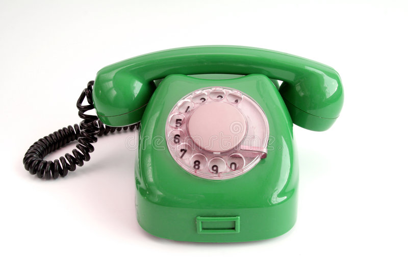 Vintage telephone. Green line stock image