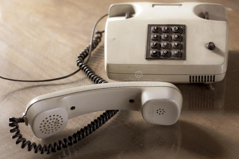 Vintage telephone with brown buttons. royalty free stock image