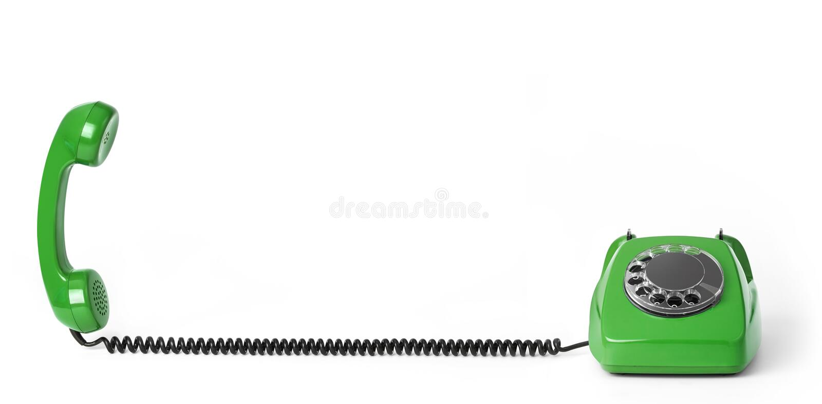 Vintage telephone with cord. Vintage telephone isolated on white royalty free illustration