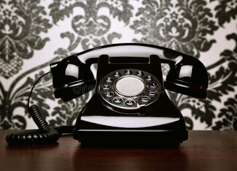Download Vintage Telephone At The Desk Stock Image - Image of call, cord: 22037569