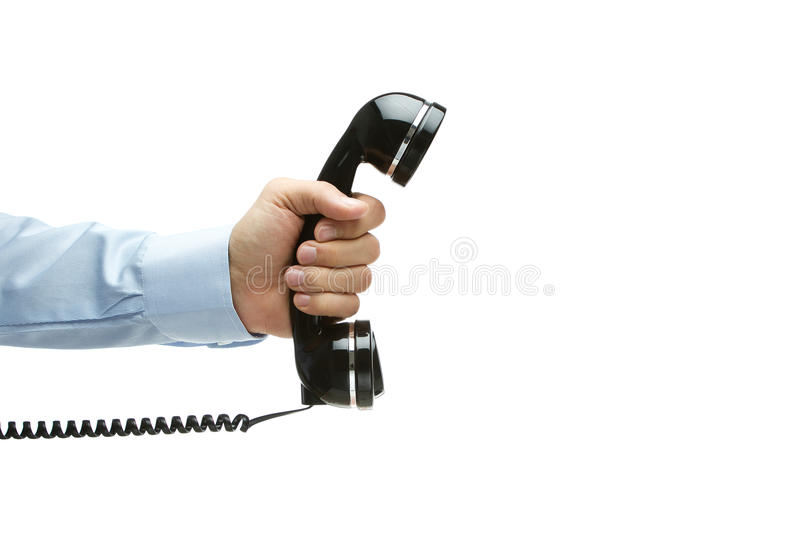 Vintage Telephone In Hand Stock Image