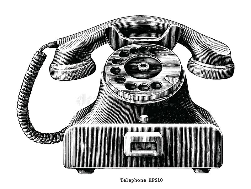 Vintage telephone hand draw clip art isolated on white background vector illustration