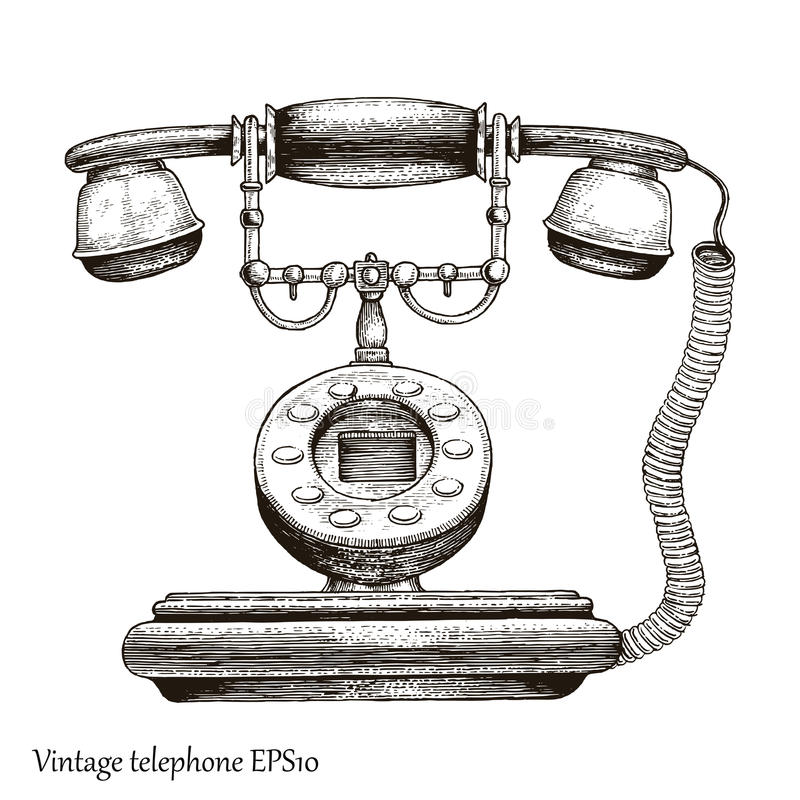 Vintage telephone hand drawing engraving style,Retro phone Initial communication device stock illustration