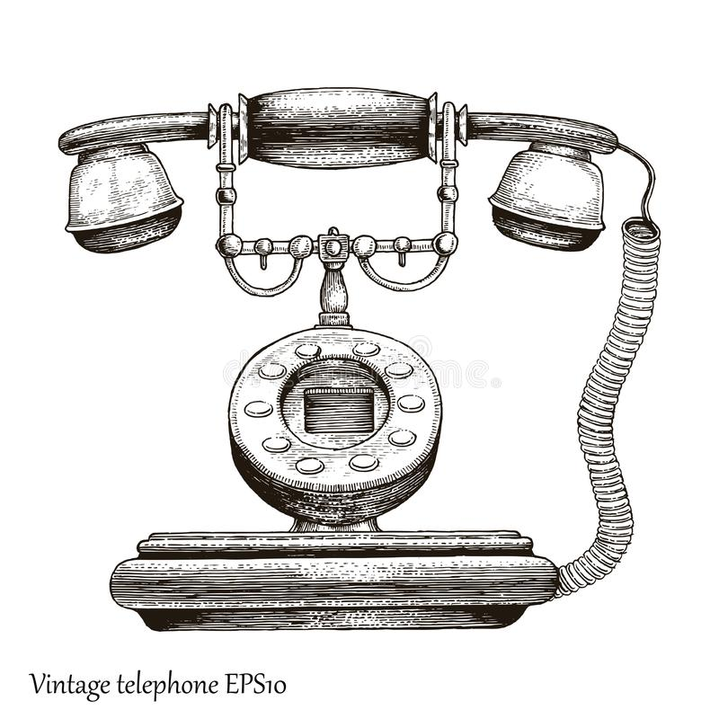 Vintage telephone hand drawing engraving style,Retro phone Initial communication device royalty free illustration