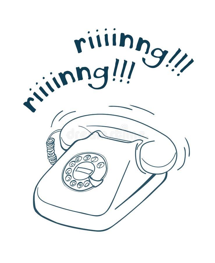 Vintage telephone hand drawn line illustration stock illustration