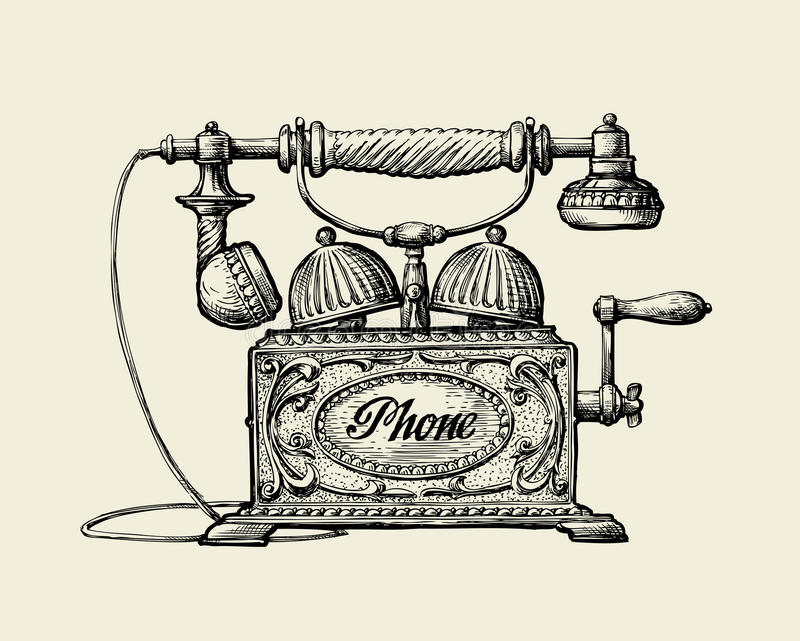 Vintage telephone. Hand-drawn sketch retro phone. Vector illustration stock illustration