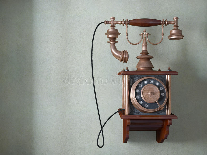 Vintage telephone on old wall vector illustration