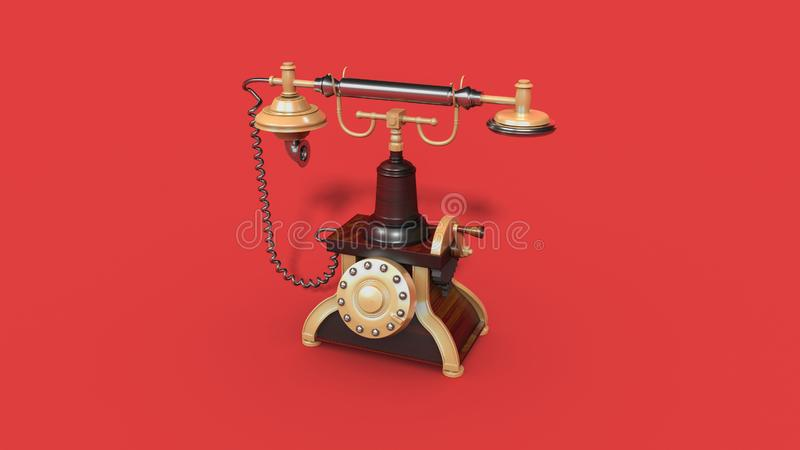 Vintage telephone. Retro old phone  on red background. 3d illustration royalty free illustration
