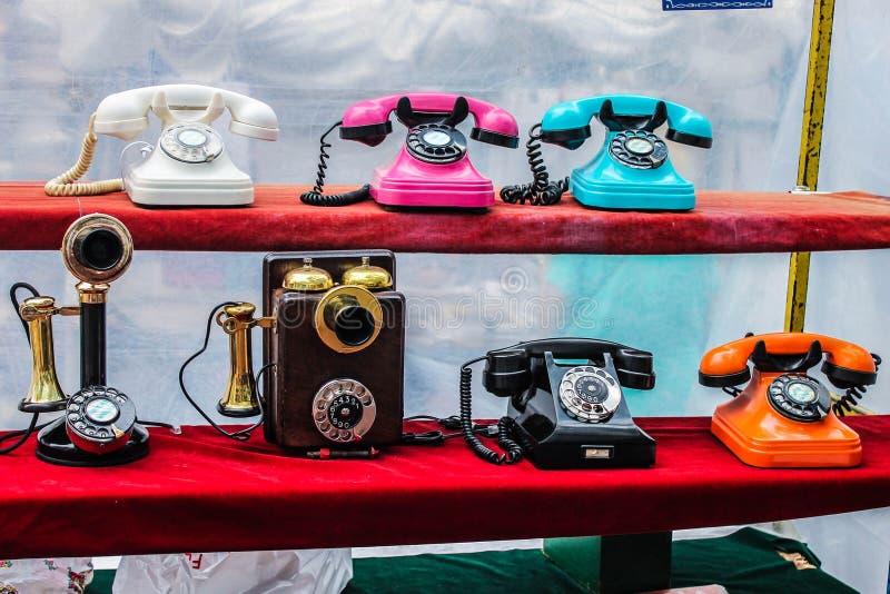 Vintage Telephones Isolated Digital Symbol Aged. Retro Design Conmunication Phone stock photos
