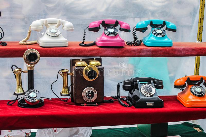 Vintage Telephones Detail Colourful Aged Equipment. Design Phone Icons History royalty free stock photo