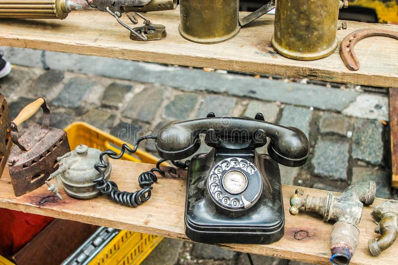 Vintage Telephones Retro Aged Object Equipment Old. Rusty Technology Antique royalty free stock photos