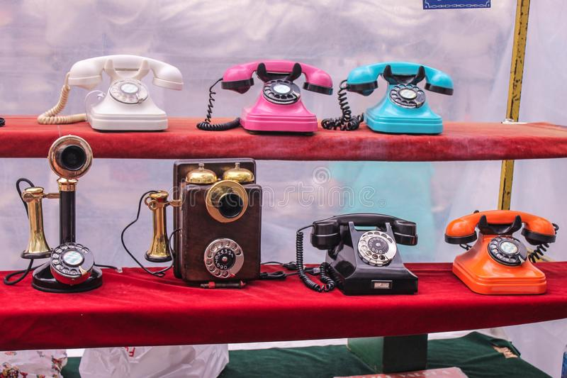 Vintage Telephones Figure  Objects   Religion. Retro Colourful Pattern Detail Old stock photography
