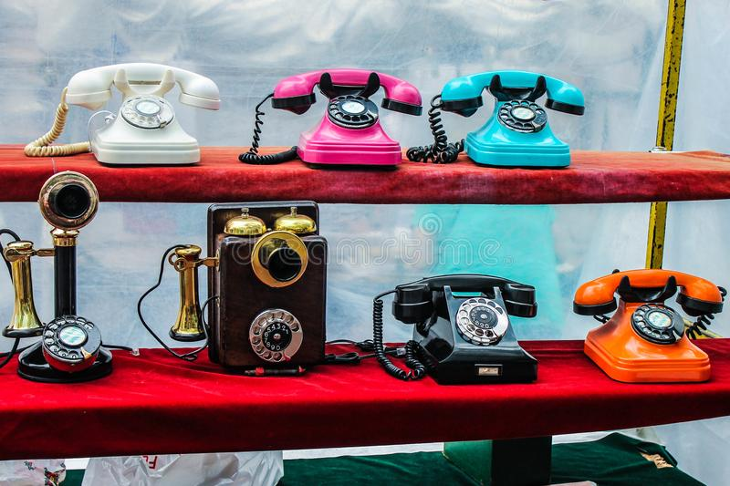 Vintage Telephones Colourful Symbol Image. Isolated Traditional Call Aged Abstract royalty free stock photography