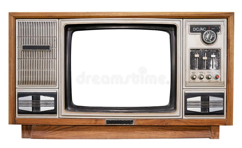 Antique wooden box television with cut out frame screen stock images