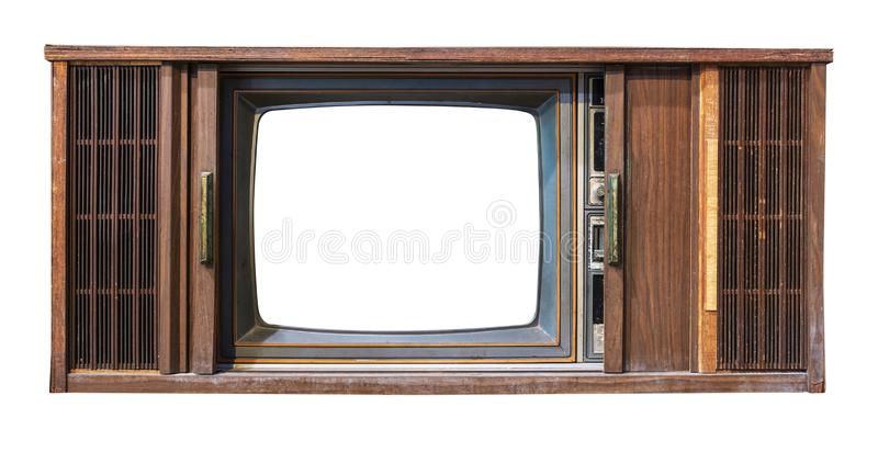 Antique wooden box television with cut out frame screen isolate on white with clipping path for object. Vintage television - antique wooden box television with royalty free stock photos