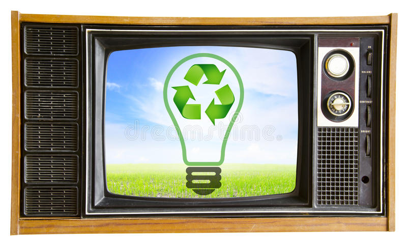 Vintage television with blue sky and recycle sign, clipping path royalty free stock photos