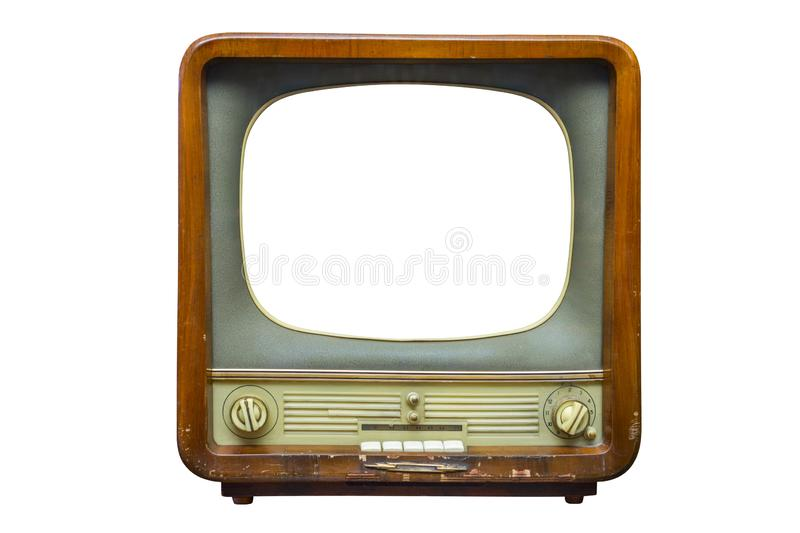 Vintage television with cut out screen for mock up isolated on white background. Retro tv with wooden case stock image