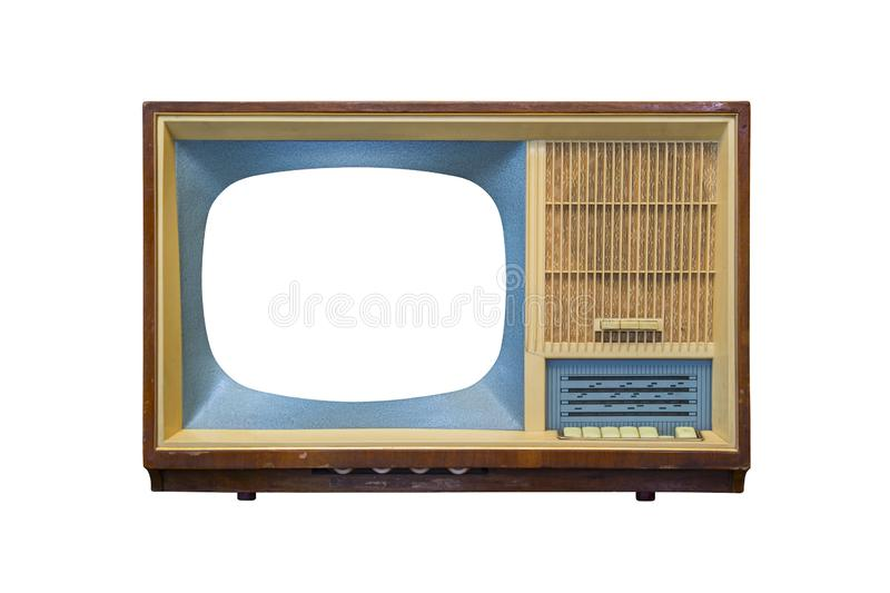 Vintage television with cut out screen on white background. Retro television - old vintage TV royalty free stock photography