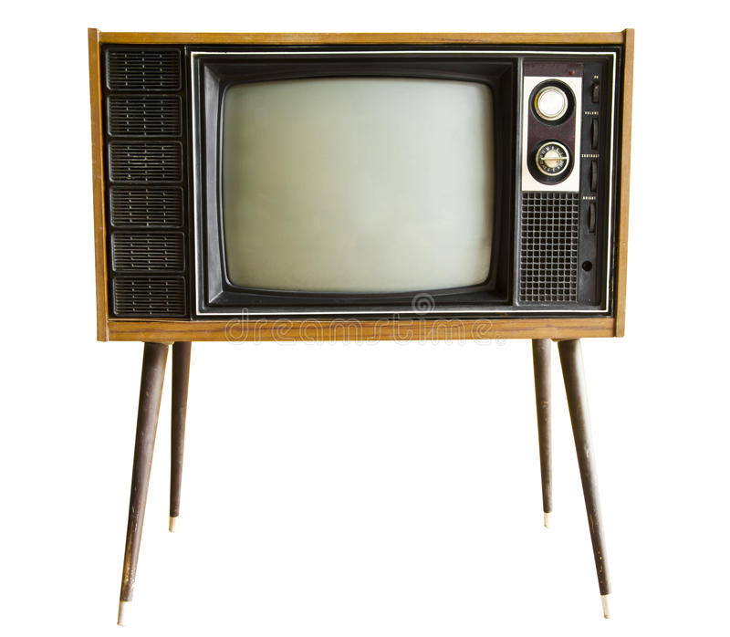Vintage television isolated stock photography