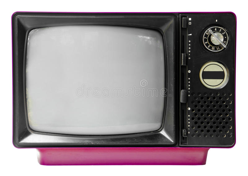 Vintage television isolated on the white background royalty free stock image