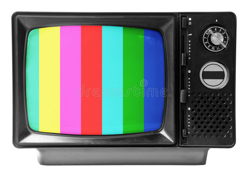 Vintage television isolated on the white background stock photography