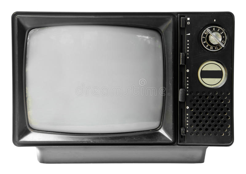 Vintage television isolated on the white background royalty free stock photos