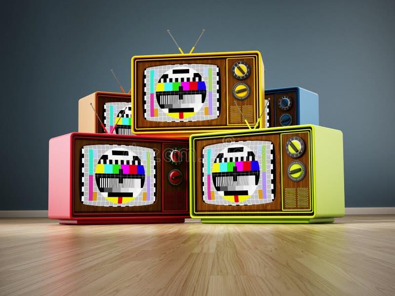 Vintage television stack standing on wood vector illustration