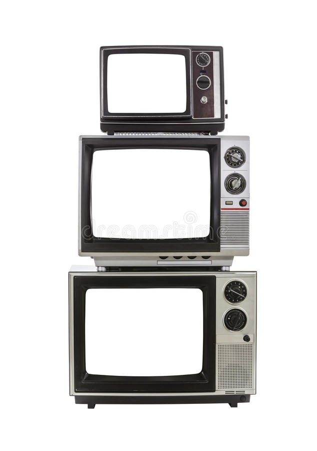 Vintage Televisions Cut Out Screens royalty free stock images